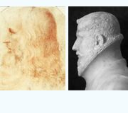 "Comparison of Francesco Melzi's portrait ""Leonardo da Vinci"" and a profile bust ""Leonardo da Vinci"" created by Leonardo da Vinci"